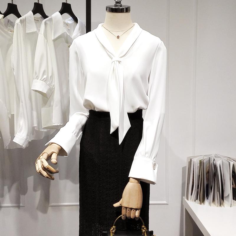 白色雪纺衬衫 白色雪纺衬衫女长袖时尚气质设计感小众显瘦领结衬衣打底飘带上衣_推荐淘宝好看的女白色雪纺衬衫