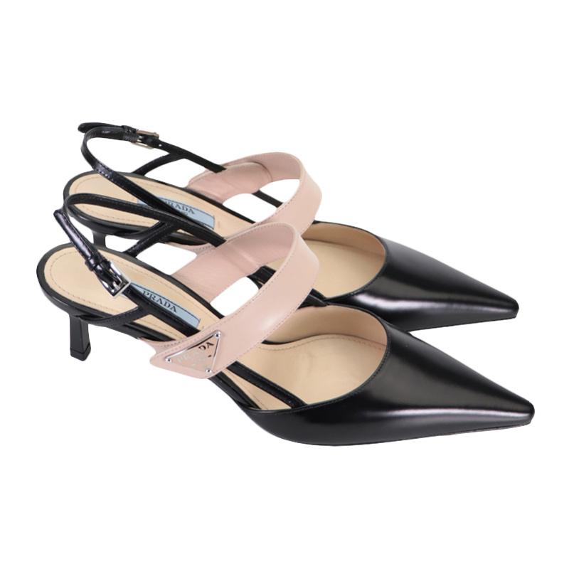 prada尖头鞋 Prada\普拉达 官方正品女士黑色皮革尖头细跟低跟鞋凉鞋女鞋_推荐淘宝好看的女prada尖头鞋