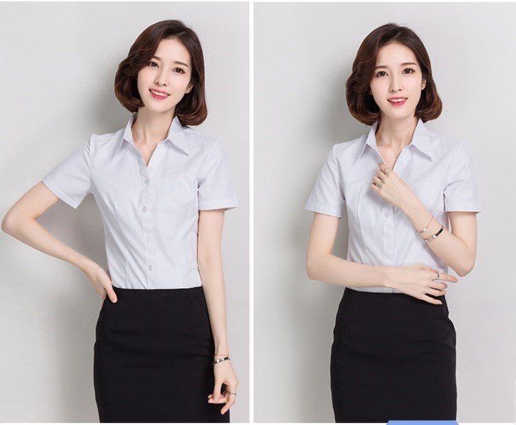 女款短袖衬衫 衬衫夏季的确女职业短半袖工作短袖工装宽松女装袖正白的确良衬衣_推荐淘宝好看的女短袖衬衫