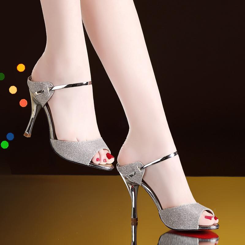达芙妮高跟凉鞋 优足达芙妮凉鞋女2020夏季新款高跟鞋细跟性感真皮女鞋女士拖鞋潮_推荐淘宝好看的女达芙妮高跟凉鞋