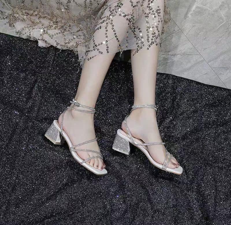 女士罗马鞋 网红粗跟凉鞋女夏2020新款中跟一字扣带仙女风水钻高跟缠绕罗马鞋_推荐淘宝好看的女罗马鞋
