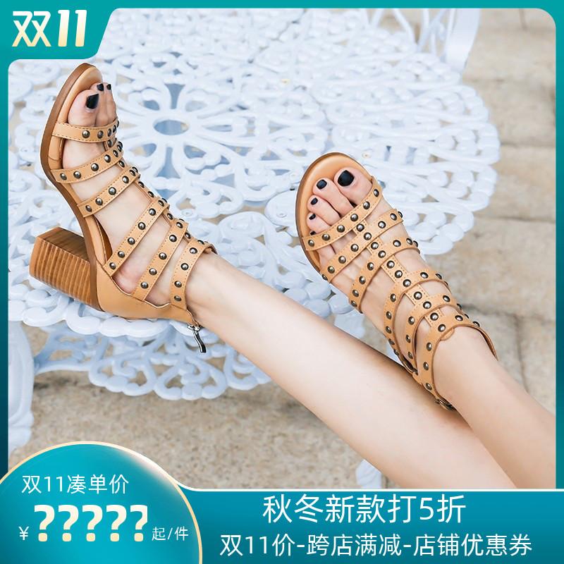 镂空罗马鞋 镂空罗马细带新款2020韩版铆钉百搭粗跟凉鞋女夏季中跟高跟鞋女鞋_推荐淘宝好看的镂空罗马鞋