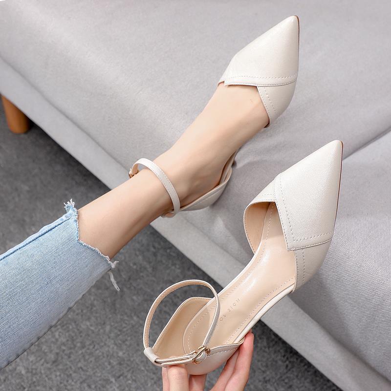 白色高跟凉鞋 白色包头凉鞋女仙女风配裙子中跟尖头高跟鞋女细跟夏天一字扣百搭_推荐淘宝好看的女白色高跟凉鞋