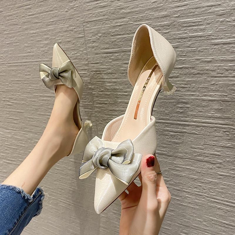 淘宝网高跟鞋 2021春季新款蝴蝶结婚礼新娘时尚中空浅口细跟女单鞋尖头女高跟鞋_推荐淘宝好看的女高跟鞋