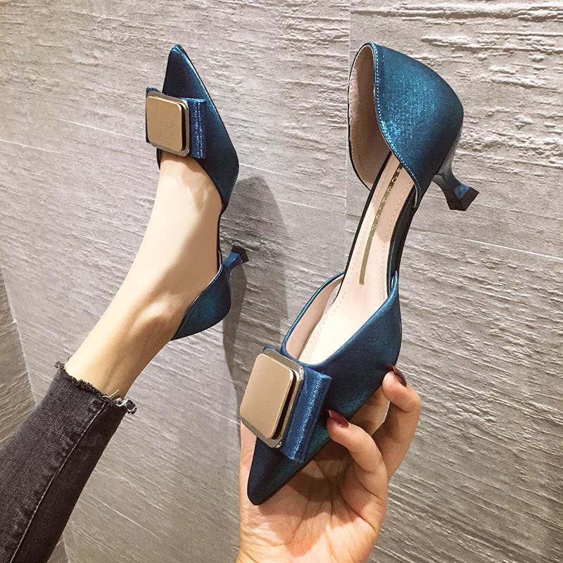 淘宝网高跟鞋 2021春季新款工作女细跟女单鞋时尚韩版尖头浅口百搭中空女高跟鞋_推荐淘宝好看的女高跟鞋
