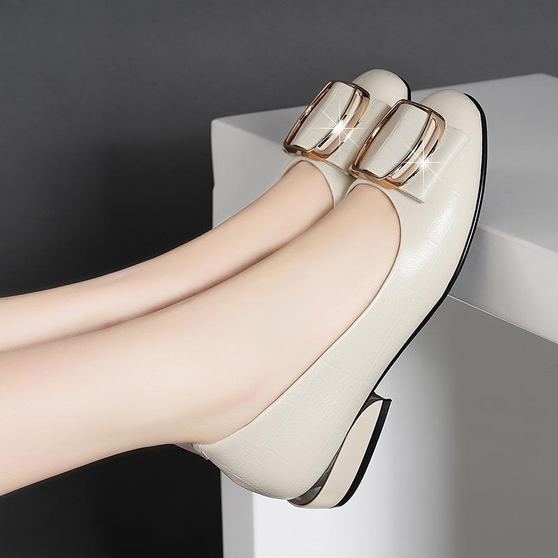 百丽单鞋 正品百丽纯爱新款矮跟舒适透气软底真皮圆头粗跟一脚蹬百搭女单鞋_推荐淘宝好看的百丽单鞋