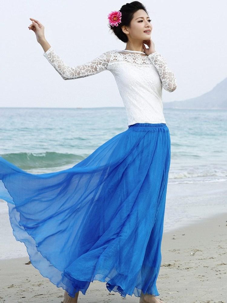 波西米亚拖地长裙半身裙 波西米亚大摆半身长裙春夏8米拖地沙滩裙雪纺纱裙半身裙广场舞裙_推荐淘宝好看的波西米亚拖地长裙半身裙