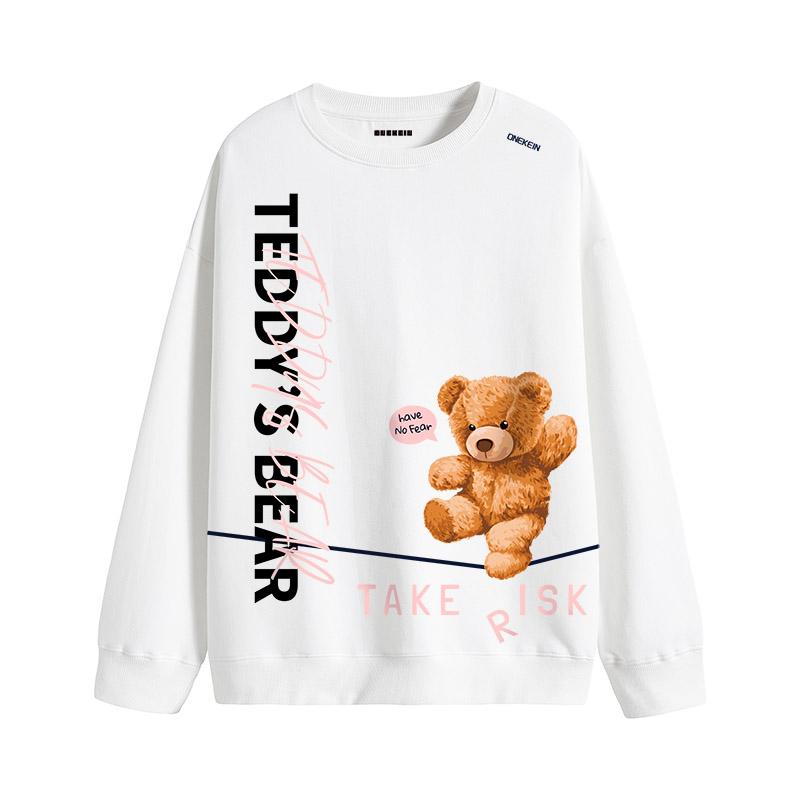 粉红色卫衣 女男款 泰迪熊卡通图案长袖全棉 内搭卫衣 可贴身 新款流行粉红色_推荐淘宝好看的粉红色卫衣