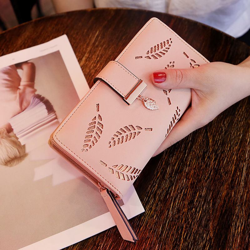 粉红色手拿包 韩国2021新款女士长款钱包拉链搭扣百搭气质原创女生粉红色手拿包_推荐淘宝好看的粉红色手拿包