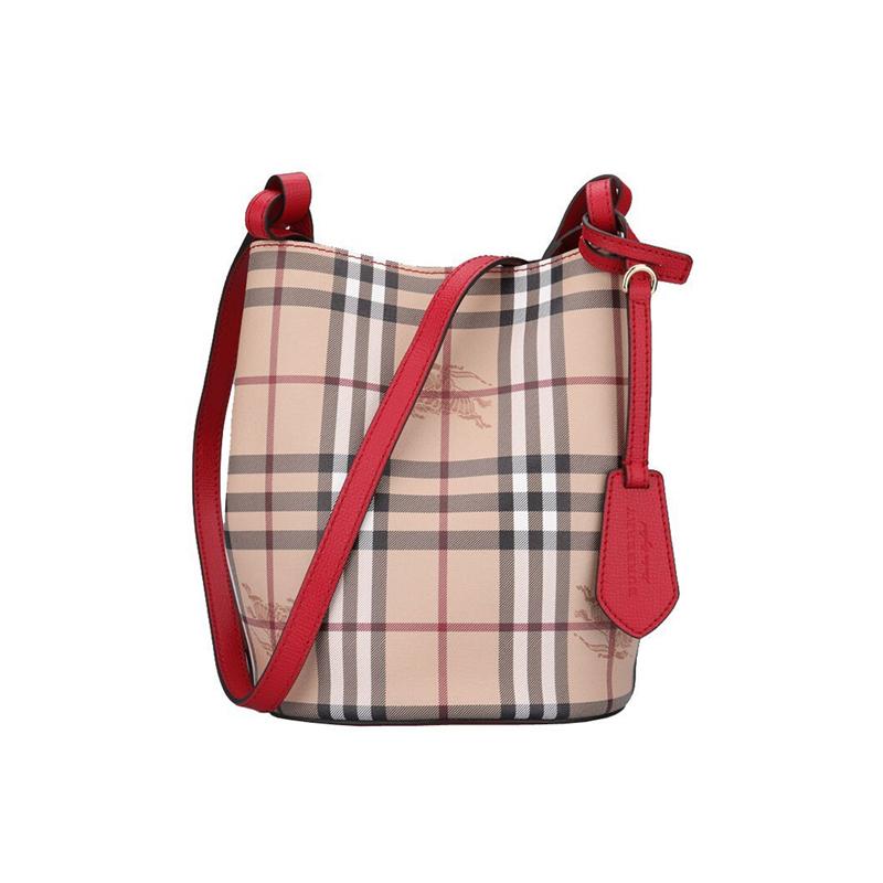 巴宝莉水桶包 BURBERRY博柏利新款休闲时尚百搭条纹单肩斜跨水桶包包女1561_推荐淘宝好看的巴宝莉水桶包