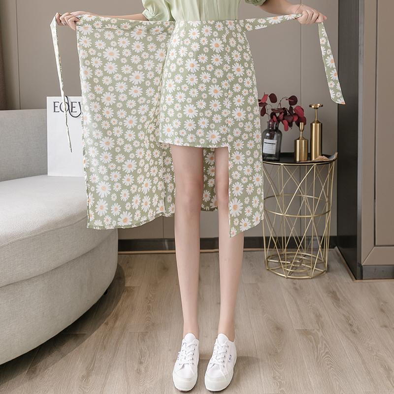 绿色雪纺半身裙搭配 2021新款夏季绿色碎花绑带长款雪纺高腰a字一片式小雏菊半身裙女_推荐淘宝好看的绿色雪纺半身裙