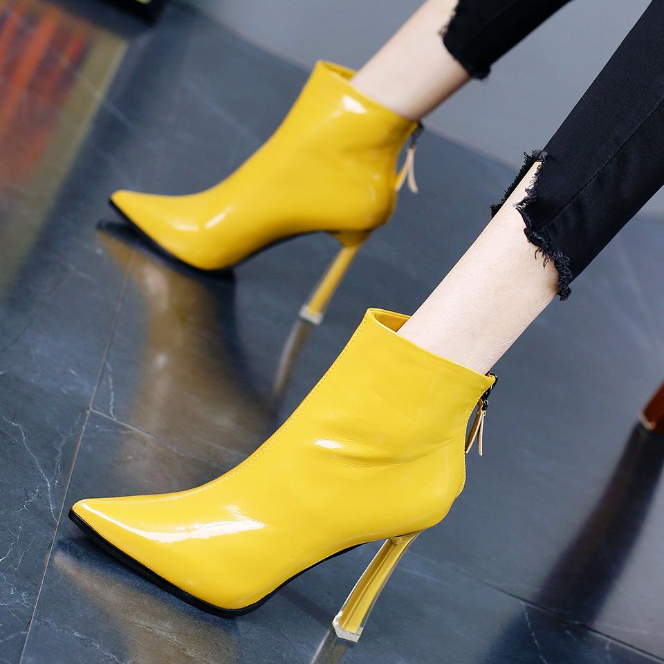 黄色高跟鞋 英伦风时尚漆皮后拉链网红短靴冬季新款气质黄色尖头粗跟高跟鞋女_推荐淘宝好看的黄色高跟鞋