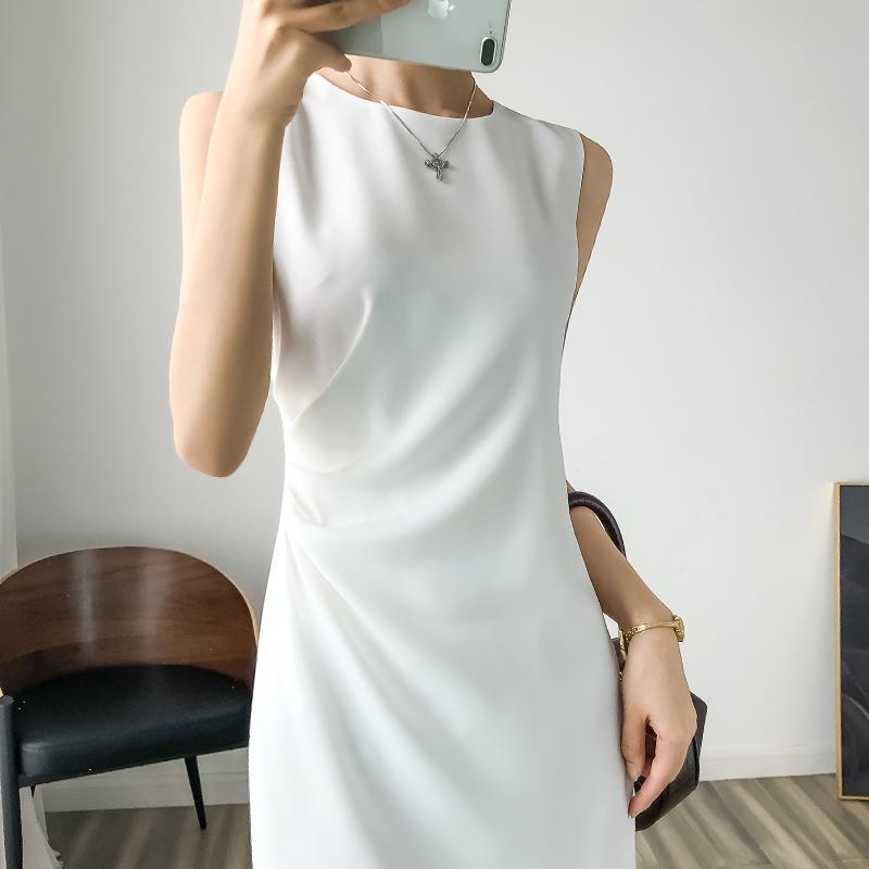 玛丝菲尔代购 玛丝菲尔代购连衣裙新裙子2021年新款春款国内褶皱中长款无袖打底_推荐淘宝好看的玛丝菲尔代购