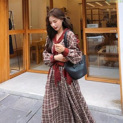红色格子衬衫 红色格子复古长袖连衣裙女2020秋季新款韩版过膝轻熟风衬衫长裙。_推荐淘宝好看的女红色格子衬衫