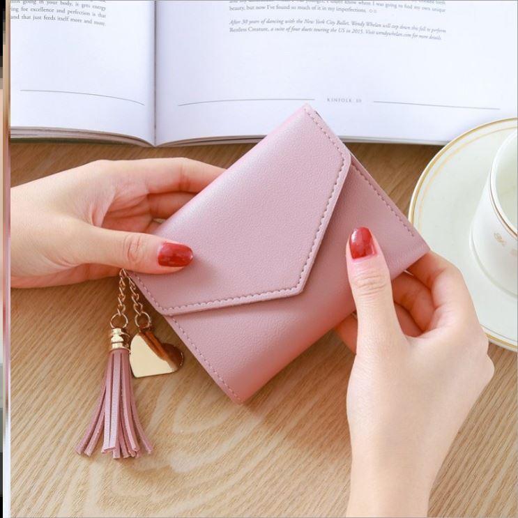 粉红色钱包 百软皮型搭女拿钱包色版个性零便携超薄搭扣粉红耐用大气多层简约_推荐淘宝好看的粉红色钱包