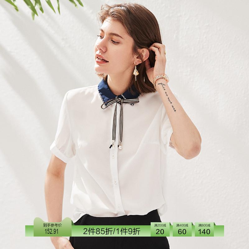 短袖衬衣 德玛纳  白色衬衫女短袖小众设计感2021新款夏季温柔风上衣_推荐淘宝好看的女短袖衬衣