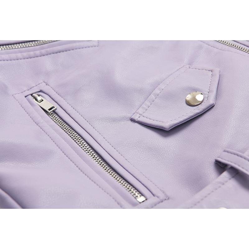 紫色皮衣 春秋短款紫色皮衣拉链饰外套服女小夹克机车矮个子_推荐淘宝好看的紫色皮衣
