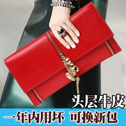 红色信封包 手包女手拿包2021新款时尚流苏真皮手抓包女士大容量信封女包红色_推荐淘宝好看的红色信封包