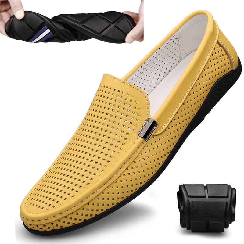黄色豆豆鞋 夏季豆豆鞋男真皮镂空洞洞凉鞋韩版时尚男鞋防臭透气黄色休闲皮鞋_推荐淘宝好看的黄色豆豆鞋