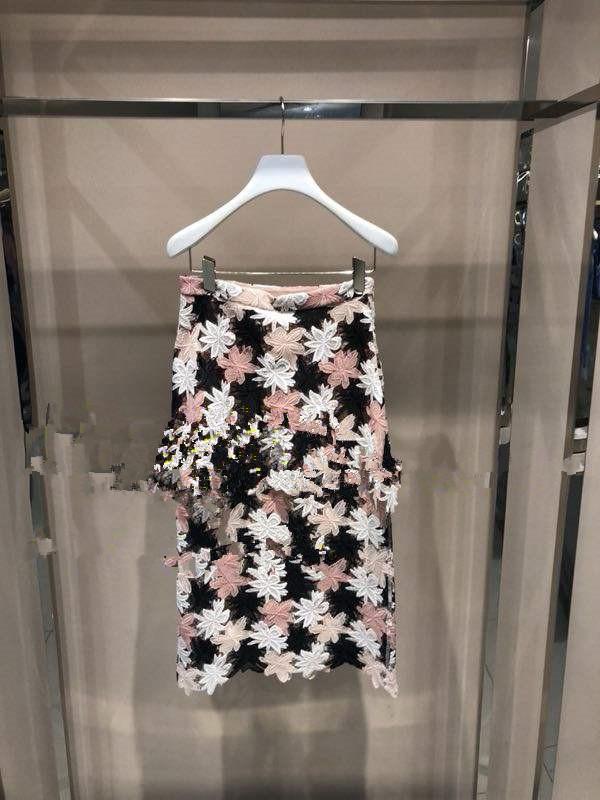 粉红色半身裙 1F82S227高端夏装3-1半身裙粉红色水溶蕾丝半裙吊牌2690_推荐淘宝好看的粉红色半身裙