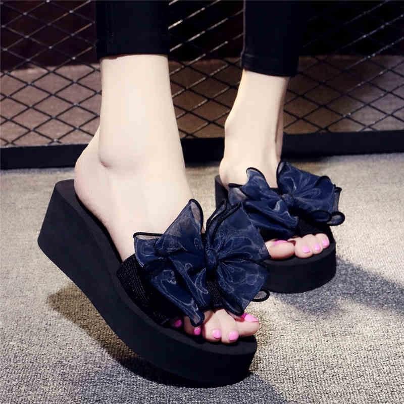 紫色坡跟鞋 紫色凉鞋夏季凉拖鞋女式蝴蝶结拖鞋高跟一字拖防滑坡跟厚底海边外_推荐淘宝好看的紫色坡跟鞋