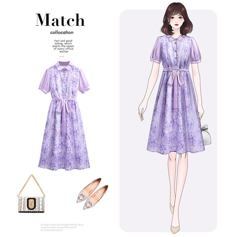 紫色雪纺衫 紫色的polo雪纺衬衫连衣裙2020新款女夏轻奢名媛气质淑女神范裙子_推荐淘宝好看的紫色雪纺衫