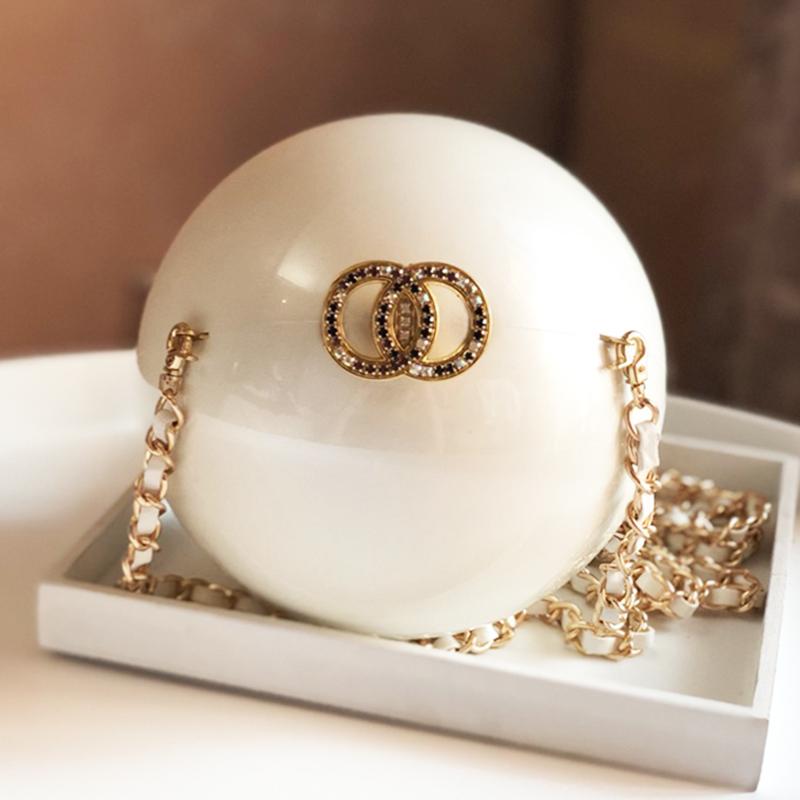 白色链条包 2020新款圆球链条大珍珠包包亚克力白色圆形单肩斜挎晚宴迷你女包_推荐淘宝好看的白色链条包