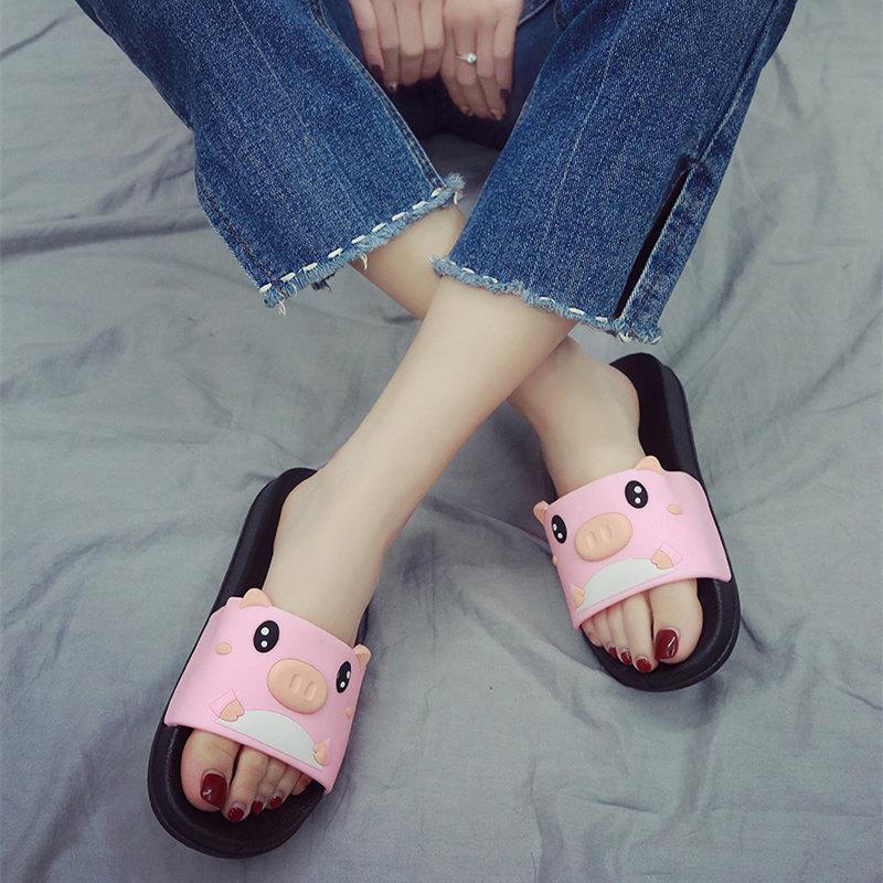 可爱厚底鞋 可爱女夏小猪猪新款时尚家居家用室内洗澡防滑卡通浴室厚底凉拖鞋_推荐淘宝好看的女可爱厚底鞋
