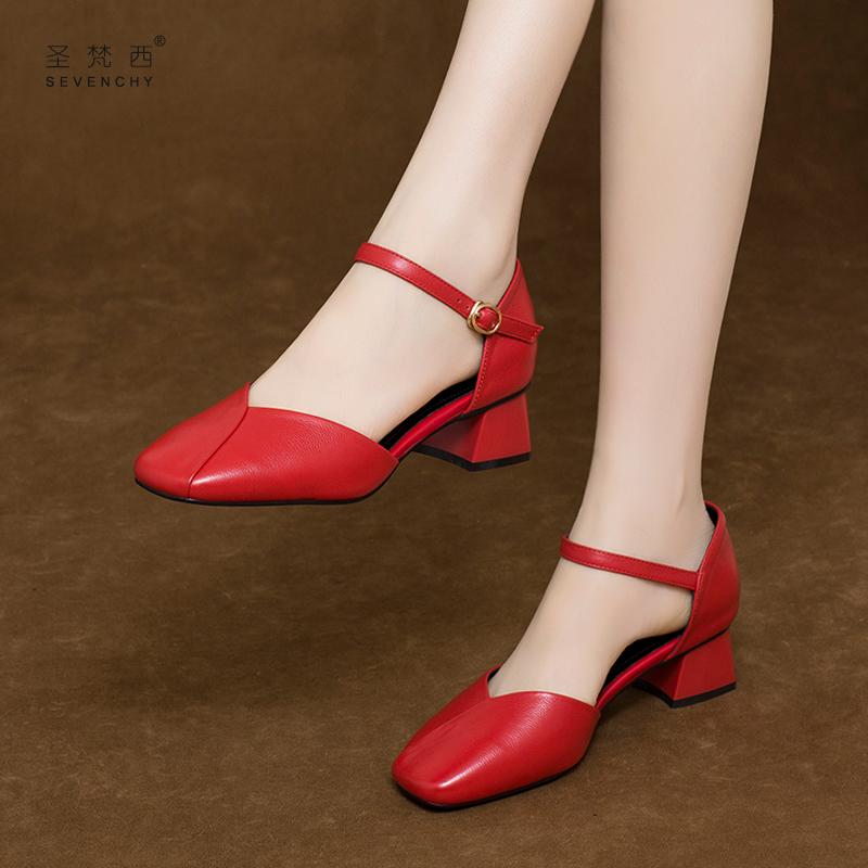 红色凉鞋 2021年新款女鞋子夏季四季包头凉鞋女单鞋中跟方头粗跟红色真皮鞋_推荐淘宝好看的红色凉鞋