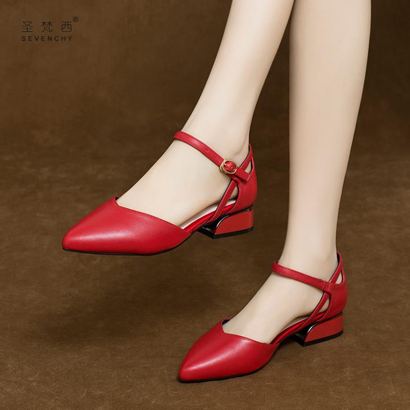 红色凉鞋 2021年新款夏季尖头包头凉鞋粗跟低跟红色女鞋平底真皮鞋四季百搭_推荐淘宝好看的红色凉鞋