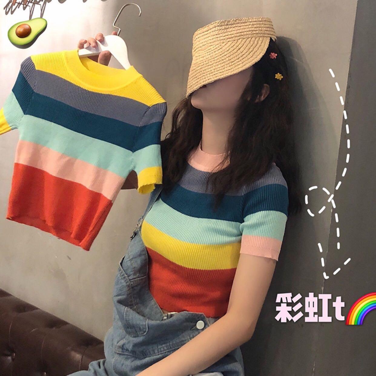 彩色条纹t恤 2020夏季新款韩版彩色条纹露脐短袖针织圆领套头修身打底T恤衫女_推荐淘宝好看的女彩色条纹t恤