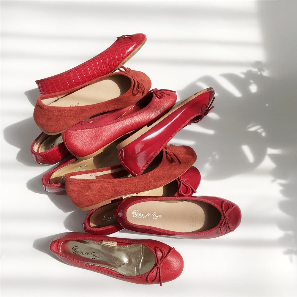 红色豆豆鞋 法式平底鞋单鞋女鞋子2021年春夏新款红色奶奶鞋大码乐福鞋豆豆鞋_推荐淘宝好看的红色豆豆鞋
