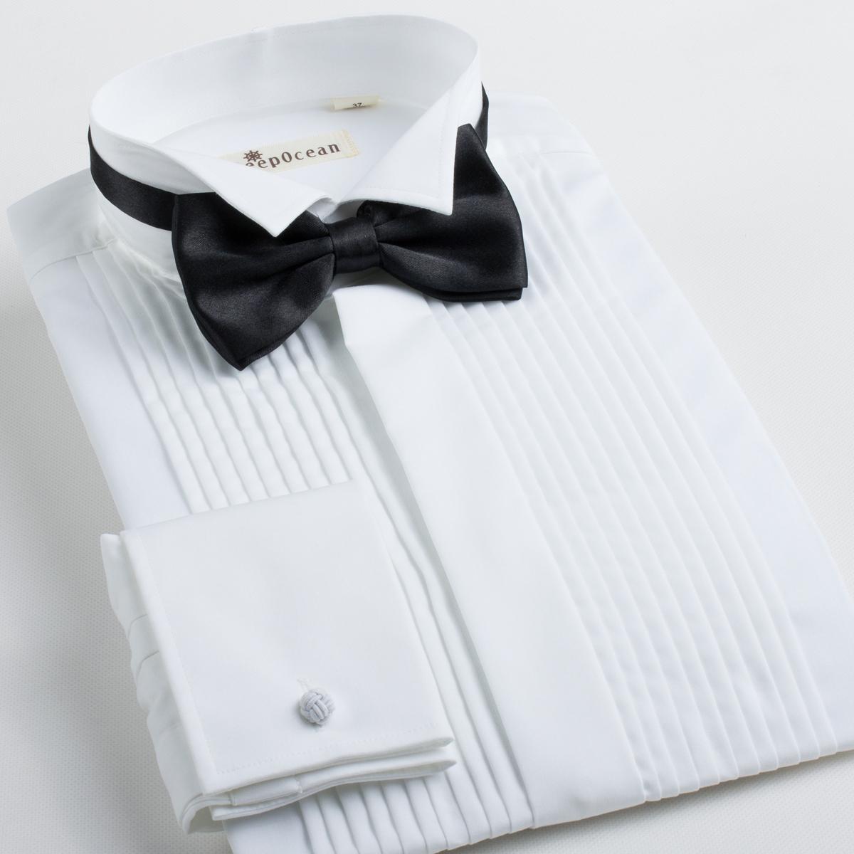 男士袖扣衬衫 深海结婚衬衫男长袖男士新郎礼服燕子领衬衣法式袖扣男装 送领结_推荐淘宝好看的男袖扣衬衫