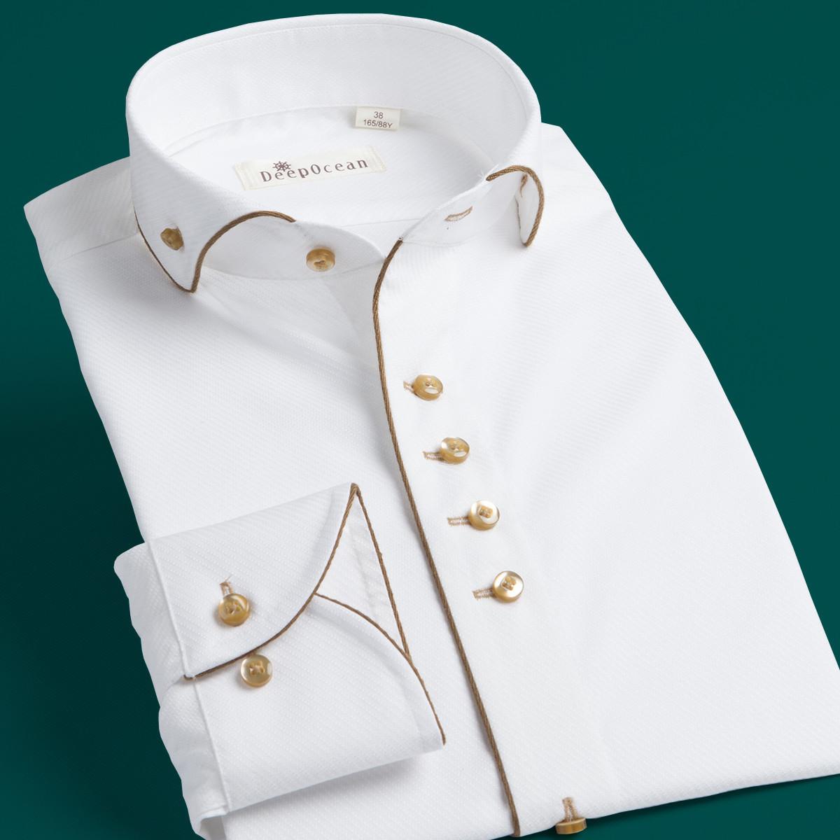男士修身衬衫 深海温莎领白衬衫男士长袖商务绅士修身英伦宫廷礼服衬衣小圆立领_推荐淘宝好看的男修身衬衫