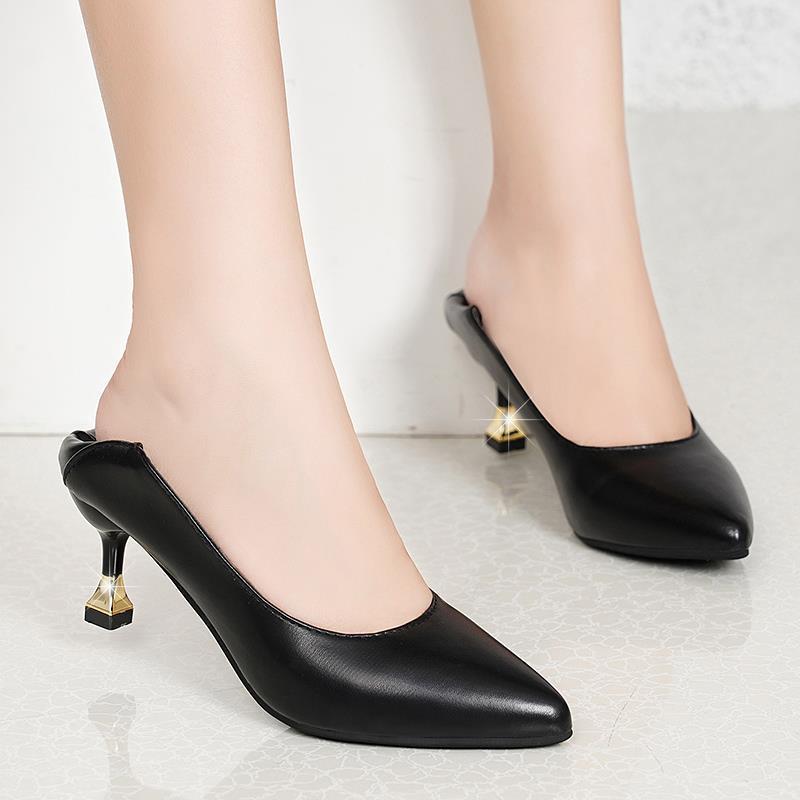 时尚单鞋 62n软皮时尚新款网红单鞋高跟鞋女鞋细跟尖头猫跟中跟职业工作鞋_推荐淘宝好看的女时尚单鞋