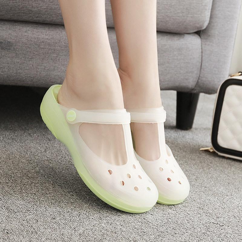 坡跟凉鞋 DITTER夏季玛丽珍女凉鞋沙滩鞋洞洞鞋坡跟凉鞋花园鞋防滑厚底凉鞋_推荐淘宝好看的女坡跟凉鞋