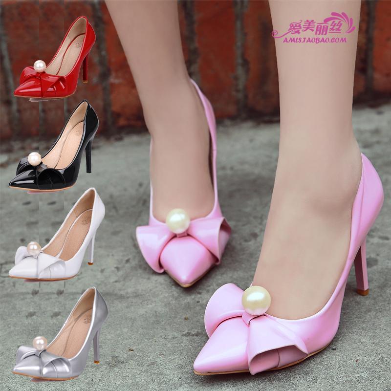 粉红色高跟鞋 韩版甜美女单鞋尖头细高跟粉红色红绿银黑糖果色浅口淑女鞋时装鞋_推荐淘宝好看的粉红色高跟鞋