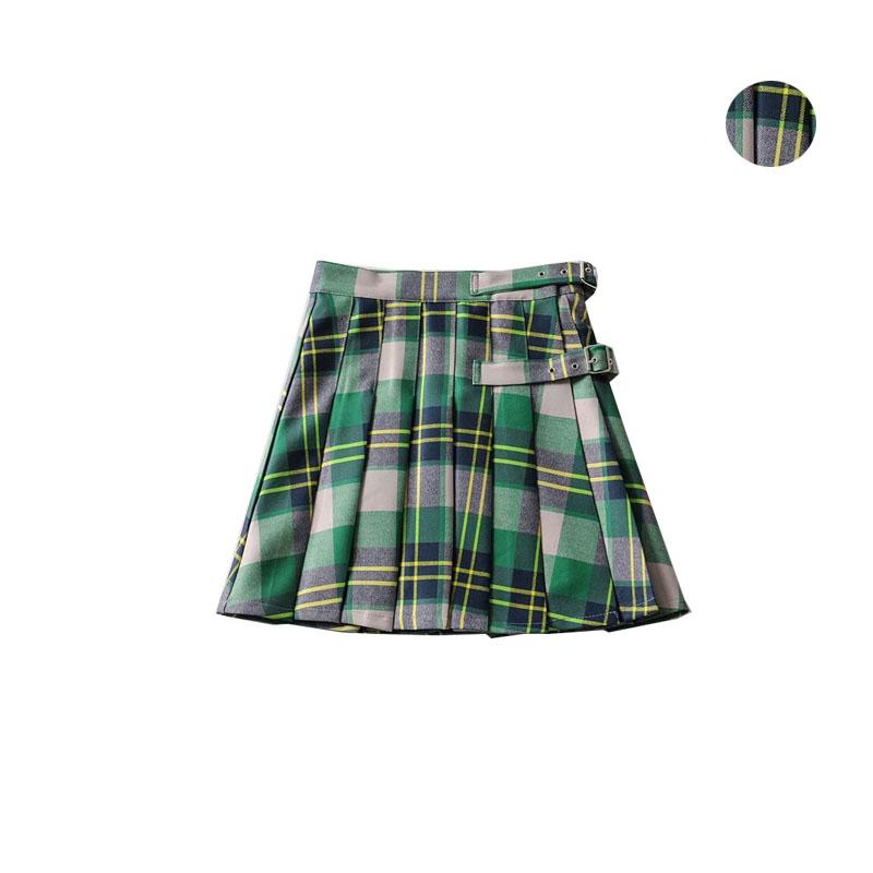 绿色半身裙 法式少女复古绿色格纹百褶裙新款苏格兰风减龄A字半身裙短裙子潮_推荐淘宝好看的绿色半身裙