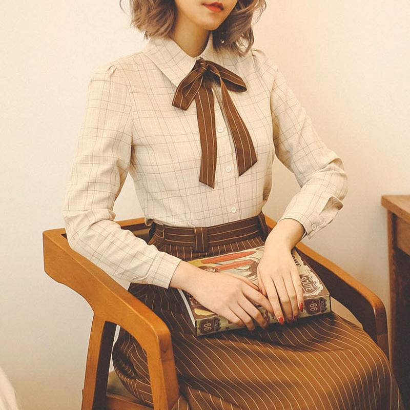 长袖撞色衬衫 弥爱原创 暖杏 春新法式复古撞色绑带威尔士格纹衬衫长袖女上衣_推荐淘宝好看的女长袖撞色衬衫