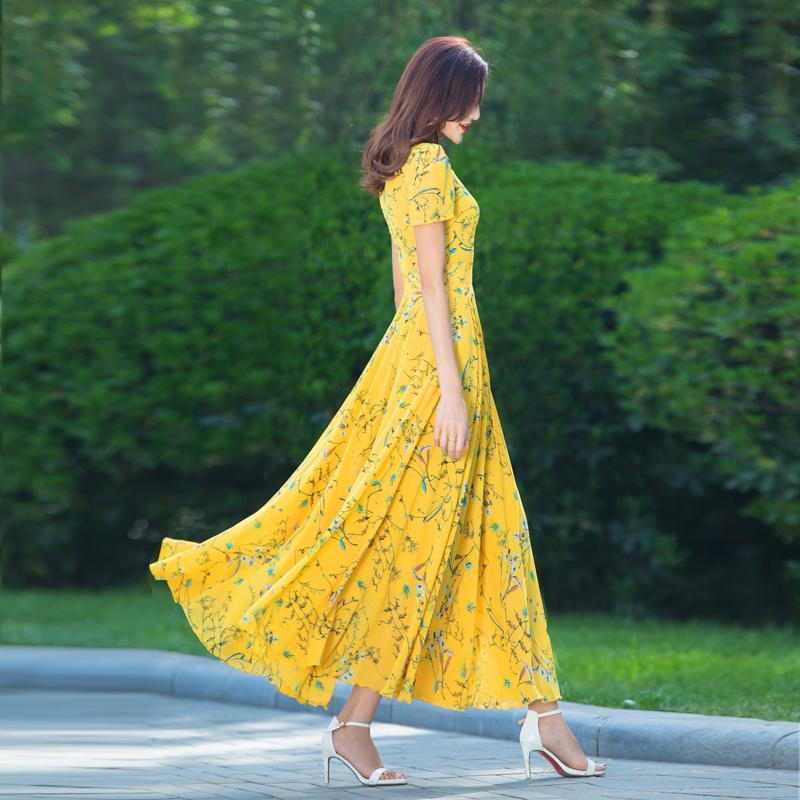 黄色连衣裙 2021新款夏季长款雪纺修身显瘦黄色连衣裙气质碎花收腰仙女沙滩裙_推荐淘宝好看的黄色连衣裙