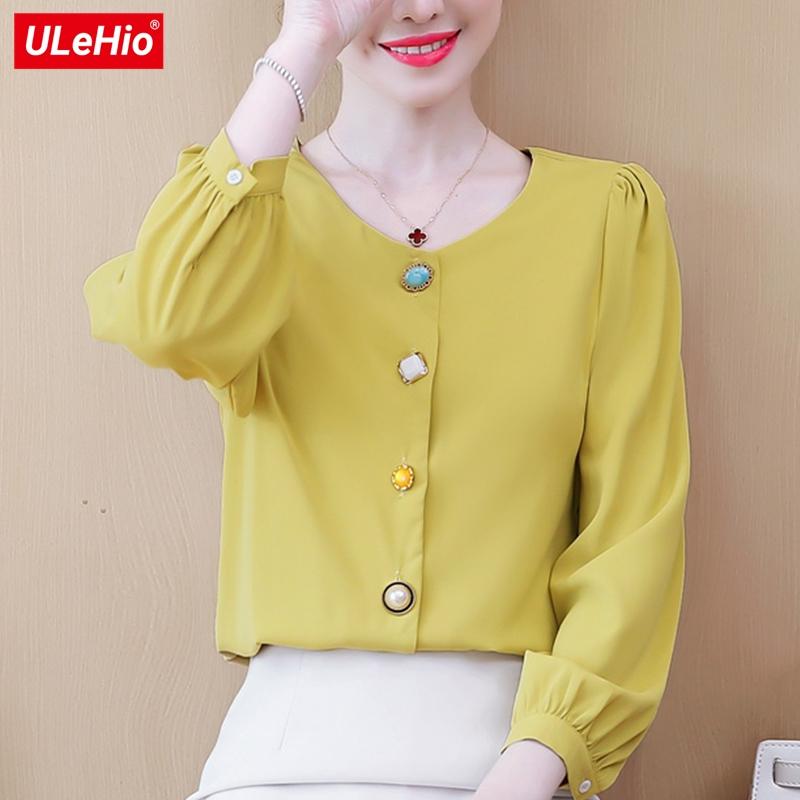 黄色雪纺衫 圆领纯色长袖衬衫2020秋季新款韩版宽松休闲新款元素风雪纺上衣女_推荐淘宝好看的黄色雪纺衫