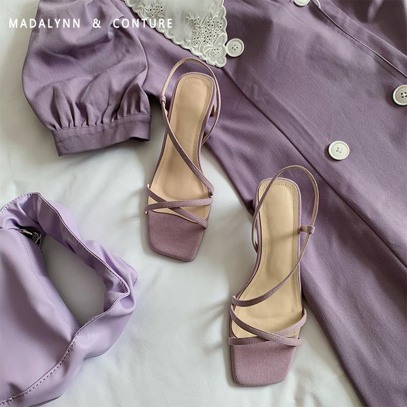 紫色凉鞋 ins潮紫色一字带凉鞋女2020年夏新款韩版百搭仙女风高跟时装凉鞋_推荐淘宝好看的紫色凉鞋