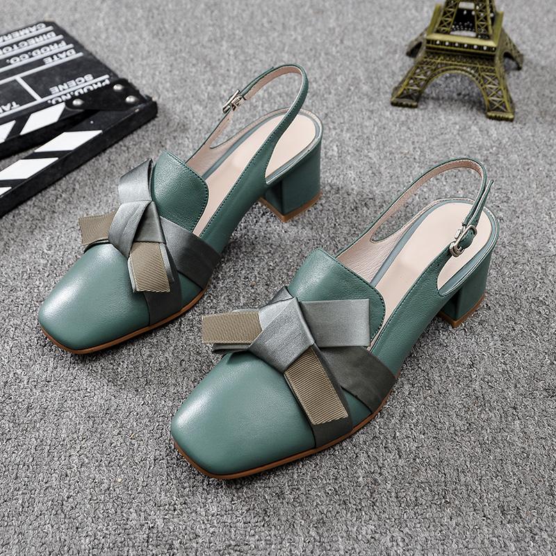绿色凉鞋 2021新款包头凉鞋女鞋夏复古绿色粗跟高跟鞋真皮蝴蝶结小仙女单鞋_推荐淘宝好看的绿色凉鞋