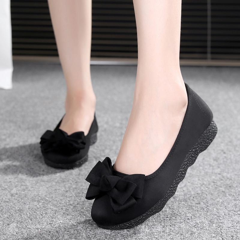 黑色豆豆鞋 新款老北京布鞋女鞋平底软底豆豆鞋单鞋时尚舒适孕妇鞋黑色工作鞋_推荐淘宝好看的黑色豆豆鞋