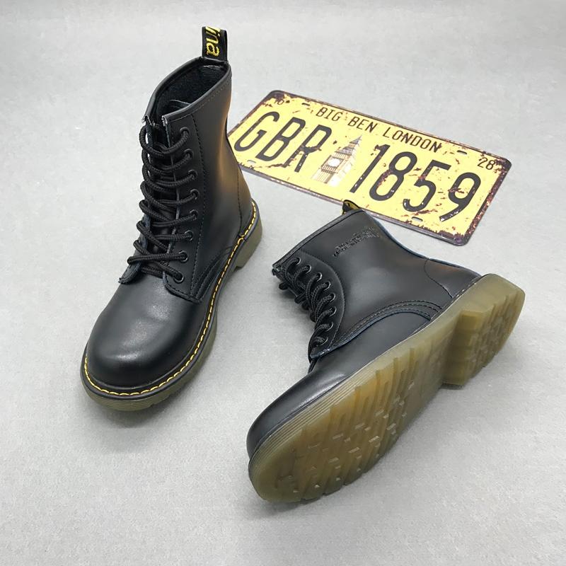圆头短靴 马丁靴女英伦风新款靴子潮靴系带短靴春秋平底靴骑士靴圆头高帮靴_推荐淘宝好看的女圆头短靴