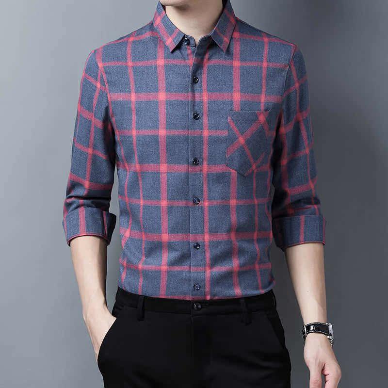 格子男式衬衫 品牌正品长袖衬衫男中青格子弹力寸衫修身男式衬衣_推荐淘宝好看的格子男式衬衫