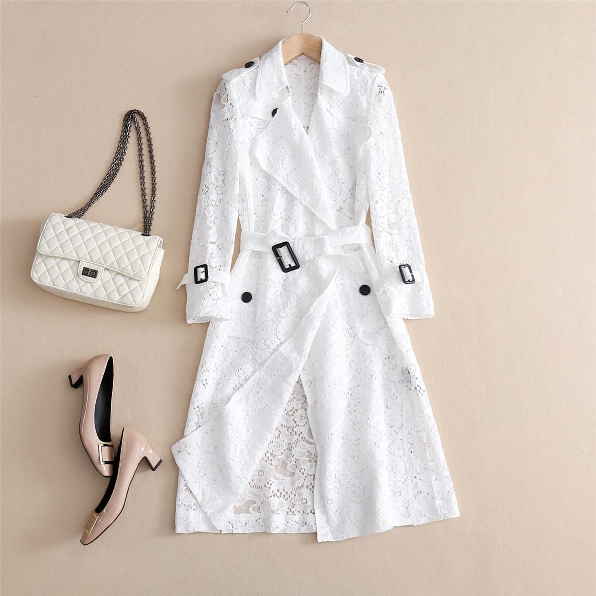白色风衣 白色蕾丝风衣女中长款春夏新款系带收腰镂空气质薄外套百搭空调衫_推荐淘宝好看的白色风衣