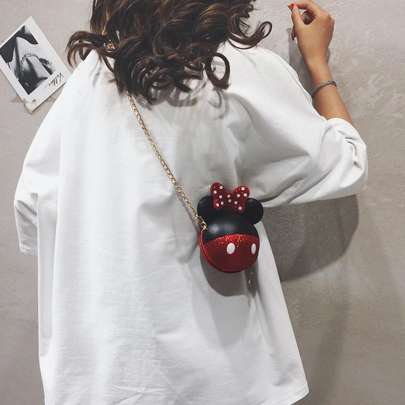 红色斜挎包 迷你小包包女包新款2019卡通可爱小圆包休闲少女链条单肩斜挎包潮_推荐淘宝好看的红色斜挎包