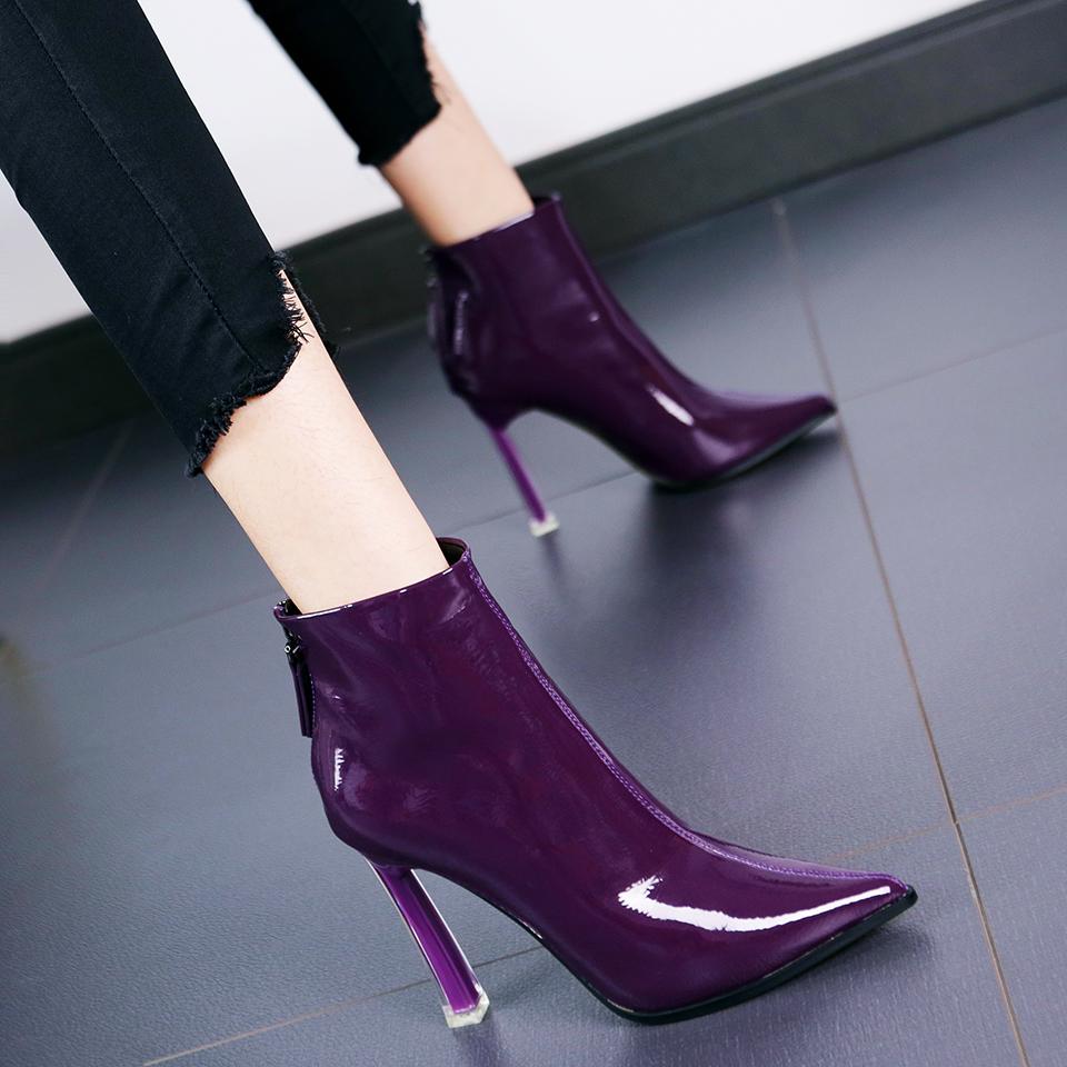 紫色高跟鞋 2019新款时尚百搭尖头细跟高跟鞋女秋网红漆皮紫色拉链短靴骑士靴_推荐淘宝好看的紫色高跟鞋