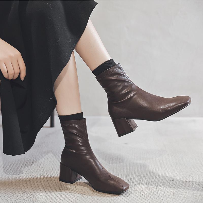 马丁短靴 袜靴弹力靴女短靴女粗跟中跟韩版2020冬新款方头套脚马丁靴瘦瘦靴_推荐淘宝好看的女马丁短靴